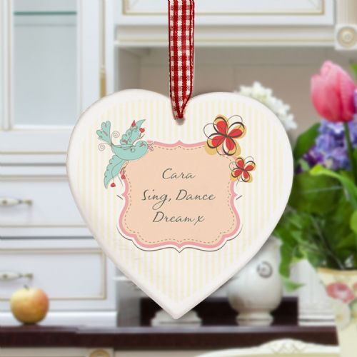 Personalised Songbird Wooden Heart Decoration